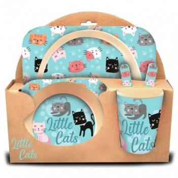 Set menaje Little Cats bambu